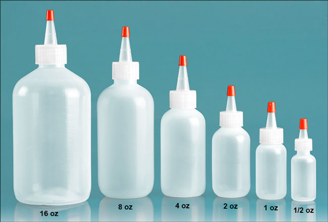 Plastic Laboratory Bottles, Natural LDPE Boston Rounds with Spout Cap