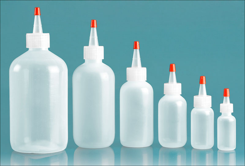 Plastic Lab Bottles, Natural LDPE Round Bottles with Spout Cap