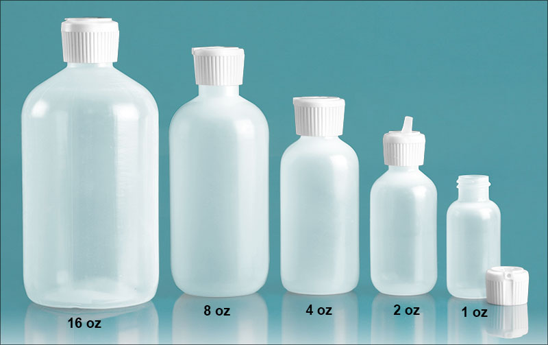 Plastic Laboratory Bottles, Natural LDPE Boston Rounds with Flip Top Spout Caps