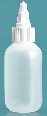 Natural LDPE Bottles with White Twist Top Caps