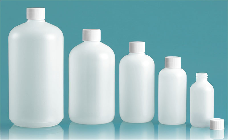 Plastic Lab Bottles, Natural HDPE Boston Rounds w/ White Lined Caps