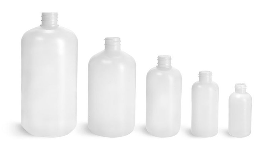 Laboratory Plastic Bottles, Natural HDPE Boston Round (Bulk), Caps NOT Included