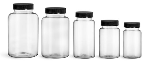 Plastic Laboratory Bottles, Clear PET Wide Mouth Packer Bottles w/ Black Ribbed PE Lined Caps