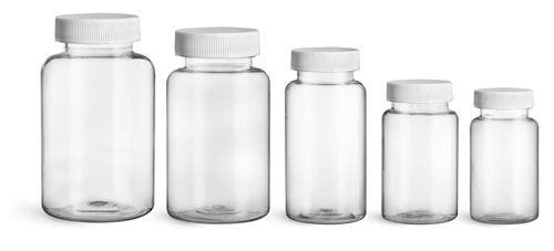 Plastic Laboratory Bottles, Clear PET Wide Mouth Packer Bottles w/ White Ribbed PE Lined Caps