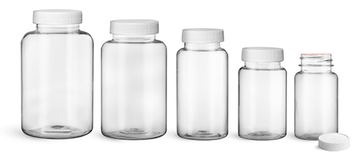 Plastic Laboratory Bottles, Clear PET Wide Mouth Packer Bottles w/ White Ribbed Induction Lined Caps
