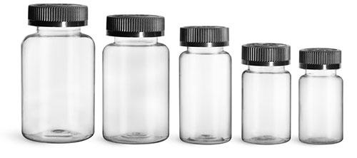 Plastic Laboratory Bottles, Clear PET Wide Mouth Packer Bottles w/ Black Child Resistant Caps