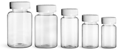 Plastic Laboratory Bottles, Clear PET Wide Mouth Packer Bottles w/ White Child Resistant Caps