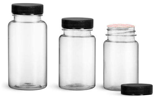 Plastic Laboratory Bottles, Clear PET Wide Mouth Packer Bottles w/ Black Ribbed Induction Lined Caps