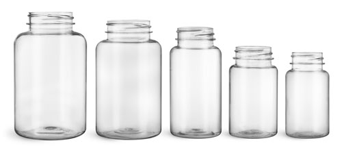 Plastic Laboratory Bottles, Clear PET Wide Mouth Packer Bottles, (Bulk) Caps Not Included