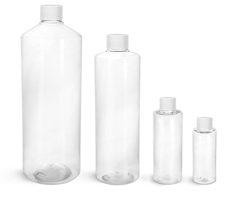 Plastic Laboratory Bottles, PET Cylinder Rounds with  Screwcaps