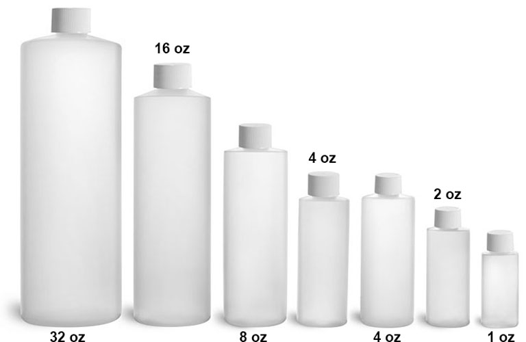Plastic Laboratory Bottles, Natural HDPE Cylinder Rounds with White Screwcaps