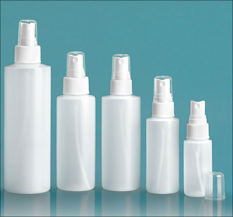 Natural HDPE Cylinders w/ White Sprayers