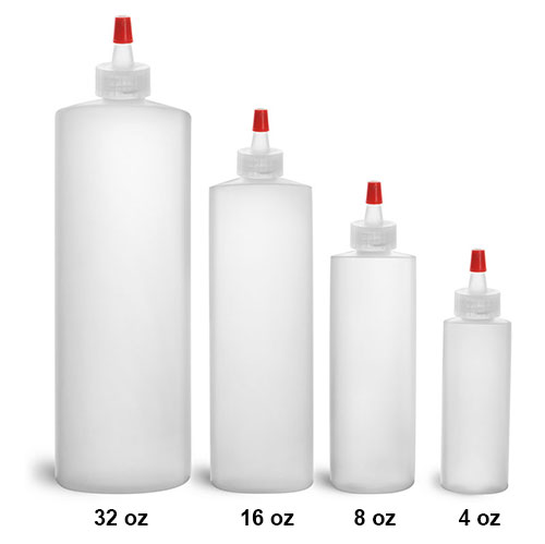 Plastic Laboratory Bottles, Natural HDPE Cylinder Rounds with Long Tip Spout Caps