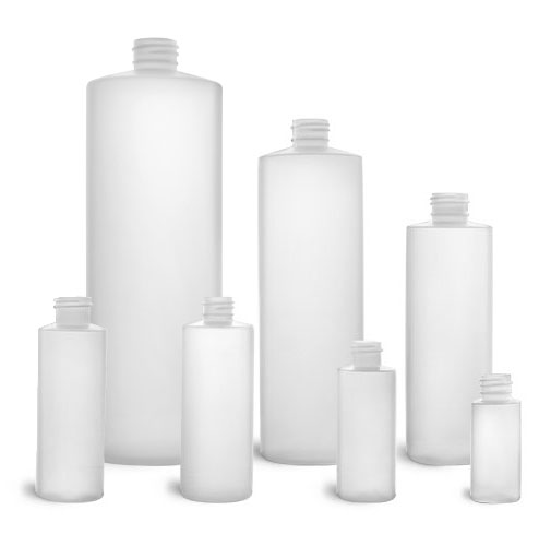 Laboratory Plastic Bottles, Natural HDPE Cylinders (Bulk), Caps NOT Included