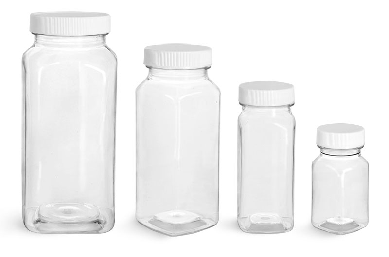 Plastic Lab Bottles, Clear Square PET Bottles w/ White Caps