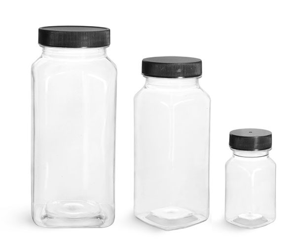 Plastic Lab Bottles, Clear Square PET Bottles w/ Black Caps