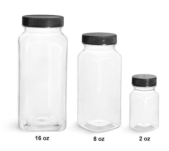 Plastic Laboratory Bottles, Clear Square PET Bottles with Black Ribbed Caps