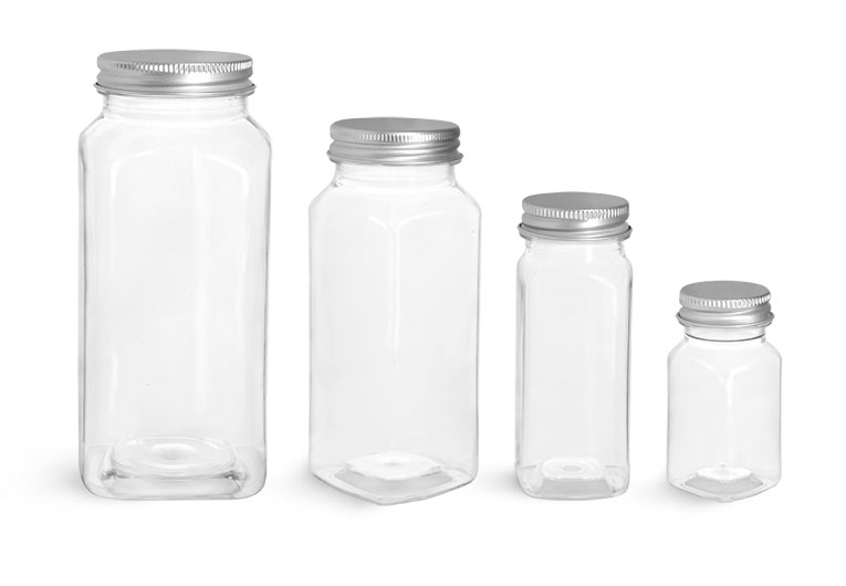 Clear Square PET Bottles w/ Aluminum Caps