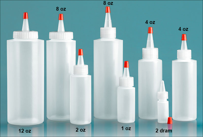 Plastic Laboratory Bottles, Natural LDPE Cylinders w/ Long Tip Spout Caps