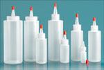 Laboratory Plastic Bottles, Natural LDPE Cylinder Bottles w/ Red Tip