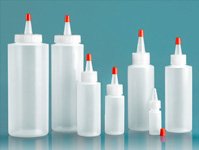 Plastic Lab Bottles, Natural LDPE Cylinder w/ Red Tip