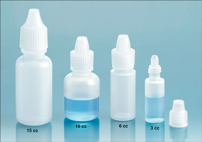 Plastic Laboratory Bottles, Natural LDPE Dropper Bottles w/ Ribbed Caps & Controlled Dropper Tip Inserts