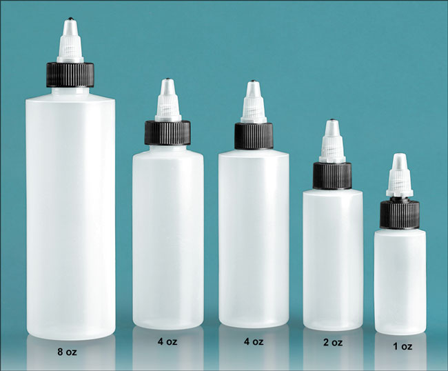 Plastic Laboratory Bottles, Natural LDPE Cylinders with Black/Natural Twist Top Caps