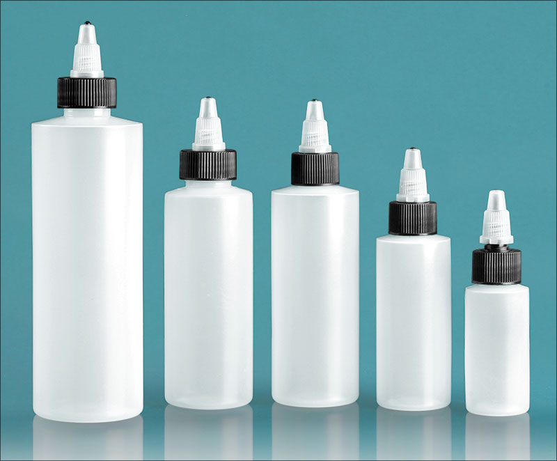 Natural LDPE Cylinders with Black/Natural Twist Top Caps