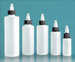 Laboratory Plastic Bottles, Natural LDPE Cylinder Bottles with Black/Natural Twist Top Caps