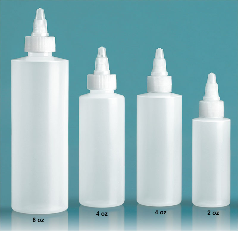 Plastic Lab Bottles, Natural LDPE Cylinders with Natural Twist Top Caps