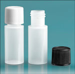 Plastic Lab Bottles, Natural LDPE Cylinders w/ Ribbed Caps