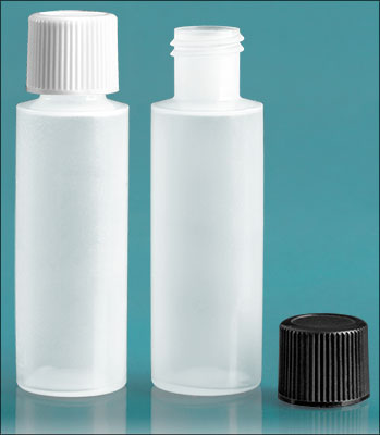 Plastic Lab Bottles, Natural LDPE 1/2 oz Cylinder Rounds w/ Caps