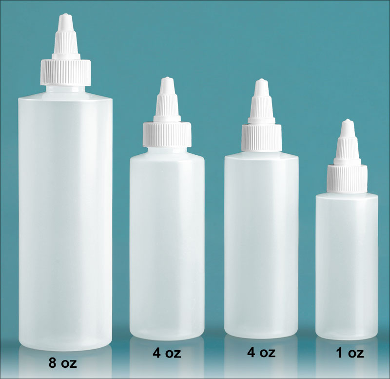 Plastic Lab Bottles, Natural LDPE Cylinders With White Twist Top Caps