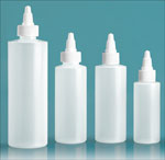 Laboratory Plastic Bottles, Natural LDPE Cylinder Bottles with White Twist Top Caps