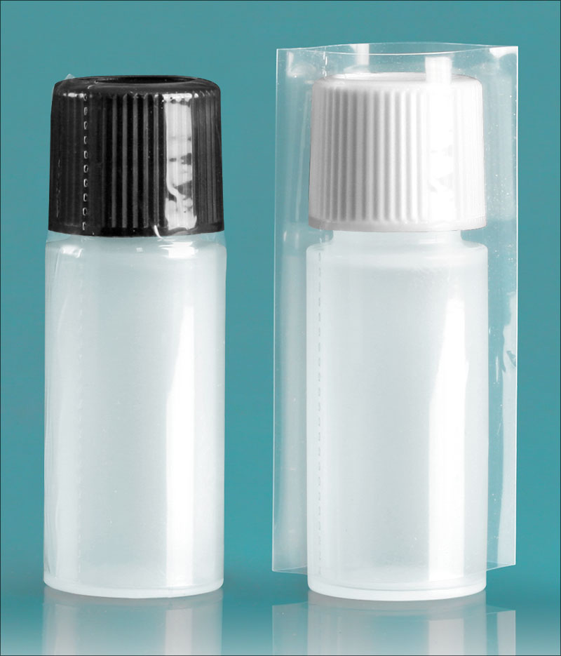 Plastic Lab Bottles, Natural LDPE Cylinders w/ Caps & Shrink Bands