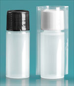 Plastic Lab Bottles, Natural LDPE Cylinders w/ Caps and Shrink Bands