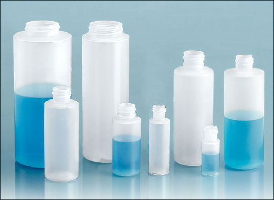 LDPE Laboratory Plastic Bottles, Natural LDPE Cylinders, (Bulk) Caps Not Included