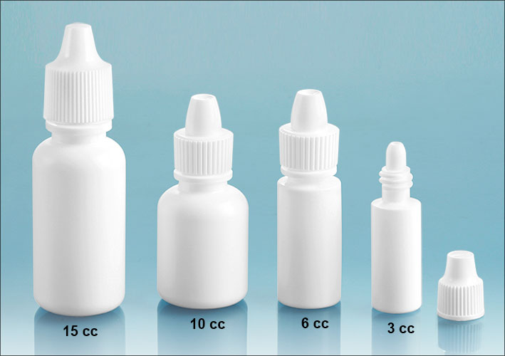 Plastic Laboratory Bottles, White LDPE Dropper Bottles w/ Ribbed Caps & Controlled Dropper Tip Inserts