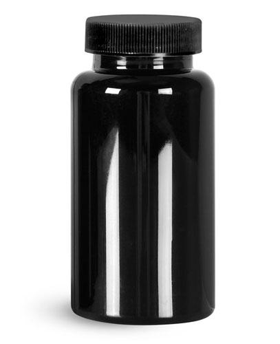 Plastic Laboratory Bottles, 150cc Black PET Wide Mouth Packer Bottles w/ Black Ribbed PE Lined Caps