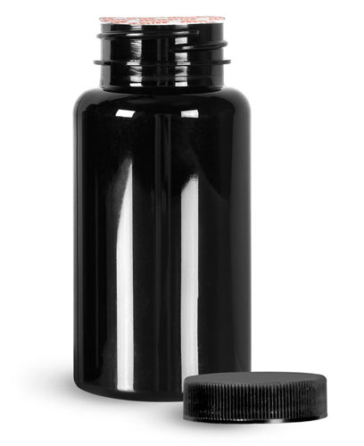 Plastic Laboratory Bottles, 150cc Black PET Wide Mouth Packer Bottles w/ Black Ribbed Induction Lined Caps