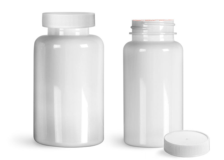 Plastic Laboratory Bottles, White PET Wide Mouth Packer Bottles w/ White Ribbed Induction Lined Caps