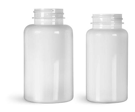 Plastic Laboratory Bottles, White PET Wide Mouth Packer Bottles, (Bulk) Caps Not Included