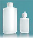 Laboratory Plastic Bottles, Natural LDPE Oval Bottles w/ White Caps