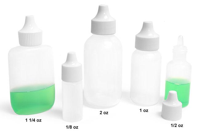 Plastic Laboratory Bottles, Natural LDPE Dropper Bottles with Dropper Plug
