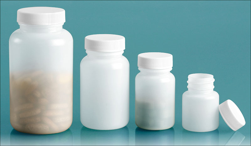 Plastic Laboratory Bottles, Natural Pharmaceutical Rounds with White Lined Screwcaps