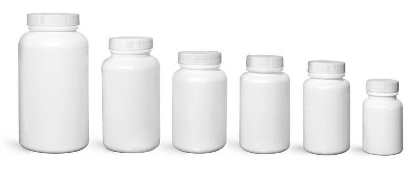 Laboratory Plastic Bottles, White Pharmaceutical Rounds w/ White Ribbed Caps