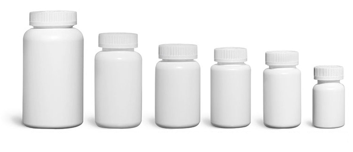 Plastic Laboratory Bottles, White HDPE Wide Mouth Pharmaceutical Round Bottles w/ White Child Resistant Caps