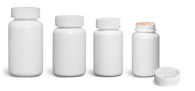 Plastic Laboratory Bottles, White HDPE Wide Mouth Pharmaceutical Round Bottles w/ White Induction Lined Child Resistant Caps