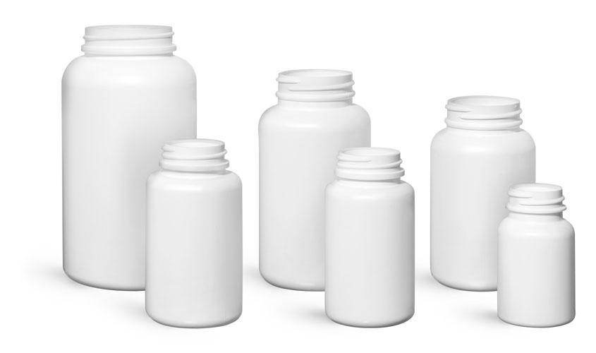 Plastic Laboratory Bottles, White HDPE Pharmaceutical Rounds, (Bulk) Caps Not Included