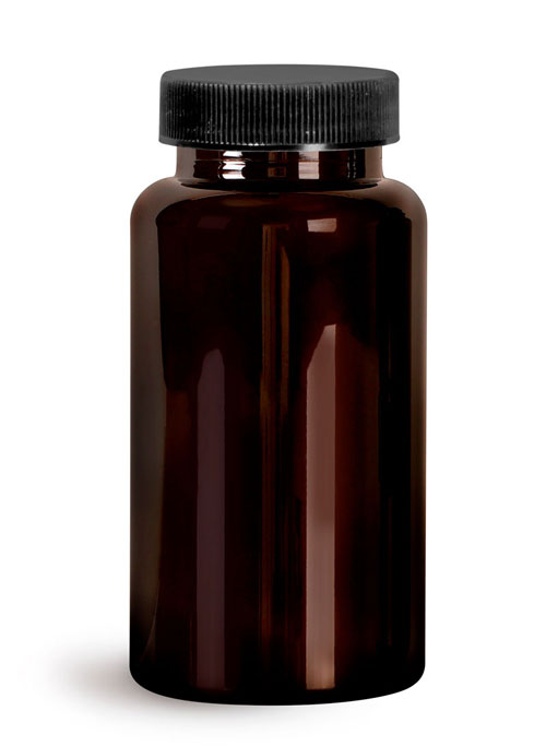 Plastic Laboratory Bottles, 150cc Dark Amber PET Wide Mouth Packer Bottles w/ Black Ribbed PE Lined Caps